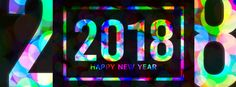 happy new year 2018 facebook cover in neon style