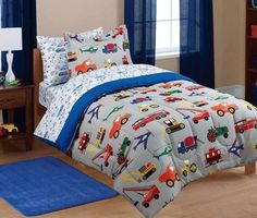 5pc Boy Blue Green Red Car Truck Transportation Twin Comforter Set (5pc Bed in a Bag) MS http://www.amazon.com/dp/B00N38DI50/ref=cm_sw_r_pi_dp_eKpWvb0E13V5H