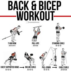 Back and biceps workout. T bar row. Pull-ups Standing curls Chest supported rows Incline curls Pull down Cable curls backworkout bicepsworkout back biceps pullups inclinecurls pulldowns cablecurls Gym Workout Chart, Gym Workout Tips, Weight Training Workouts, Fun Workouts, Back Workouts, Gym Tips, Back And Bicep Workout, Back And Biceps, Biceps Workout