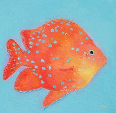 An original oil painting of a Tropical Fish. Add a bright splash of color to the bathroom, kitchen, coastal or beach house decor!    This fish