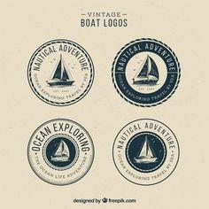 Set de logotipos vintage de barcos