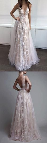 Long Sexy Deep V-Neck Tulle Lace Appliques Floor-Length A-Line Party Prom Dress --PD0281