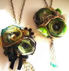 green fabric flowers - oh my gosh, these are SO gorgeous, vibrant, vintage