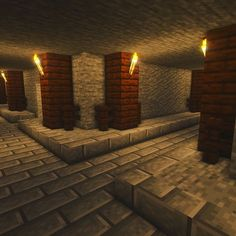 This sewer runs underneath the town of Ester Hollow - it's even got a couple of secret entrances. Minecraft Building Guide, Minecraft Farm, Minecraft Castle, Minecraft Medieval, Minecraft Plans, Minecraft Construction, Minecraft Survival, Minecraft Tutorial, Minecraft Blueprints