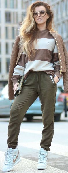 Michael Kors Leather Jacket, YSL Sweatshirt, H&M Loose Pants, Versace Purse | Dressup street style and sporty elegance | Hynoptizing Fashion