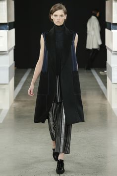 Edun fall 2015 collection   Different take on the fur vest.  Could see this with long sleeve fitted sweater.  #FindYourCool