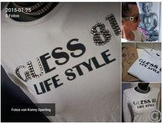 Weißes Langarm Shirt von GUESS  mit schwarzer Schrift & Strasssteinchen S-M