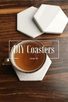 Easy DIY hexagon ceramic coasters, costing under $1 for each coaster. Made from ceramic tile and adhesive felt. / Home Projects / Home Decor /