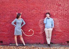 Devil vs. Angel theme during Fall engagement session