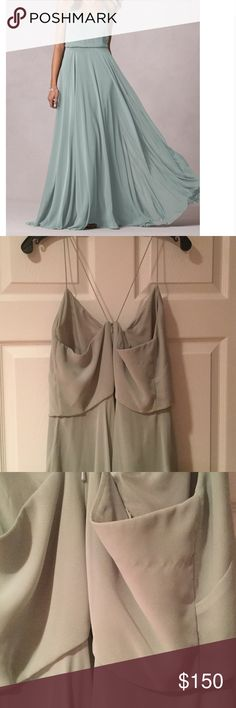 JENNY YOO Inesse morning mist gown dress 1684 Luxe chiffon. E layers. Blouse at natural waist. Molded cups. Bought size 14 but has been altered to around a Sz 10. 61in long /30 in waist/34 bust. I normally wear a size 8. Wore once. Minor pull at back Jenny Yoo Dresses Wedding