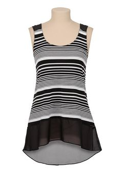 Multi Stripe Chiffon High-Low Hem Tank available at #Maurices