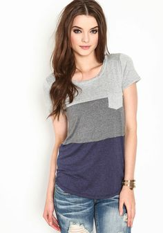 Navy, grey and lt grey color block. color block jersey tee. Cute and casual. Looks so comfy and stylish.
