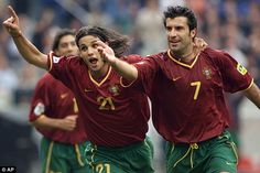 Luis Figo (right, celebrating with Portugal team-mate Nuno Gomes) was at the peak of his powers at Euro 2000
