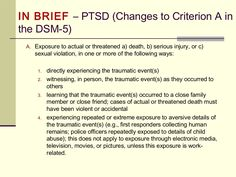 PTSD: Differential Diagnosis and the DSM-5; changes from the DSM-IV and the DSM-V.