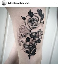 Good day Hudson Valley Tattoo Company G Girly Skull Tattoos, Skull Tattoo Flowers, Sugar Skull Tattoos, Black Ink Tattoos, Flower Tattoos, Butterfly Tattoos, Armband Tattoos, Leg Tattoos, Body Art Tattoos