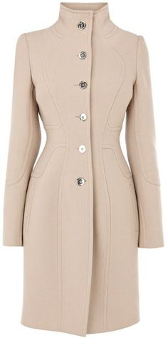 Coat with Stitching Detail - Lyst