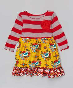 Red & Yellow Birds Babydoll Dress - Toddler & Girls | zulily