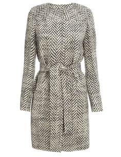 Commuun | Avenue32- black and white herringbone long sleeve dress with tie belt