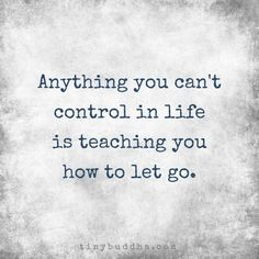 Anything you can't control in life is teaching you how to let go.