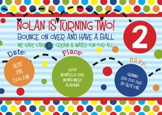 Bouncey ball invitation pack of 10 with blank white envelopes by KwikKopyshop on Etsy