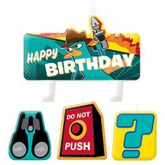 "Phineas and Ferb Molded Cake Candle Set 4ct by Amscan. $5.01. Candles feature images of binoculars, Perry the Platypus, a ""Do Not Push"" button, and a question mark.. Package includes 4 Phineas and Ferb Birthday Candles, ranging in size from 1 1/4in to 3 1/4in long.. Make a wish! Phineas and Ferb Birthday Candles feature images of binoculars, Perry the Platypus, a ""Do Not Push"" button, and a question mark. Place one or all of these foodsafe candles on a birthday cake, cu..."