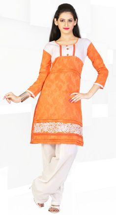 Classy Orange Color Cotton & Jacquard #Kurti