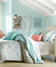 Another great find on #zulily! Aqua Damask Sunrise Comforter Set #zulilyfinds