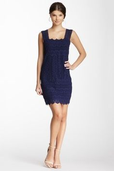 CLUNY By Designer Cynthia Steffe Cotton Lace Front Shift Dress