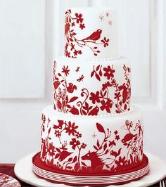 red/white horses, birds & flowers