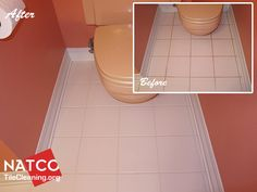 Painting the grout in a bathroom tile floor.