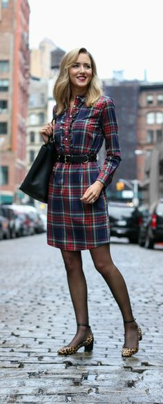red navy green yellow tartan plaid shirt dress with leopard block heel ankle strap heels // perfect for casual holiday and christmas parties at the work or anywhere!