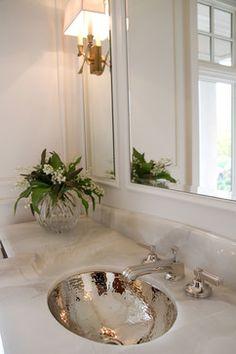 Tamara Mack Design Bathroom With Gray Paint Color Hammered Metal