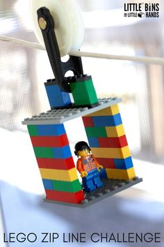 LEGO zip line - a fun STEM challenge to build engineering skills in kids