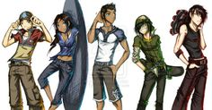 Aang, Katara, Sokka, Toph, and Zuko if they happened to be really cool kids who don't care about anything except for skateboarding.