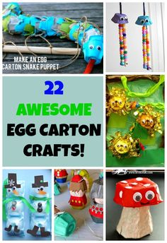 22 Amazing Egg Carton Crafts for kids! These egg carton craft ideas are great… Craft Activities For Kids, Preschool Crafts, Projects For Kids, Toddler Activities, Craft Ideas, Crafts To Do, Crafts For Kids, Egg Carton Crafts, Crafty Kids