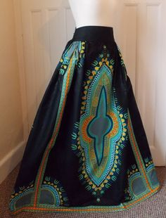 Dashiki Maxi Skirt - African High Waist Maxi Made to measure in UK ...