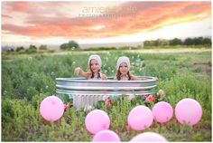 Amie Pendle Photography styled child session, portraits, twins, twin girls, fields, balloons, bathing suits, bubbles southern utah