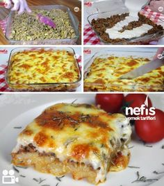 Potato template with mushrooms and bechamel sauce - Yummy Recipes Lunch Recipes, Low Carb Recipes, Potato Recipes, Sauce Béchamel, Bechamel Sauce, Wie Macht Man, Sliced Potatoes, Fresh Fruits And Vegetables, Vegetable Drinks