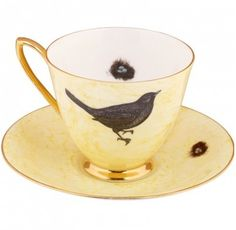 Bird & nest upcycled tea cup and saucer by Melody Rose