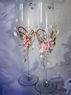 Свадебные бокалы, Розовый ,Белый,Лепка,Бусины,свадебные фужеры