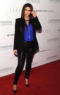 Fall / winter - street chic style - party look - black blazer + cobalt blue shirt + leather pants + black stilettos