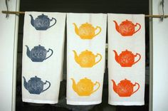 block printed by hand tea-towels/picture only