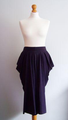 Draped aubergine organic cotton skirt www.zoeyarwood.co.uk