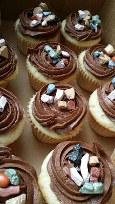 Rock climbing party cupcakes with rock candy chocolate