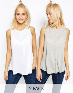 Image 1 of ASOS Swing Vest With Drape 2 Pack Save 10%