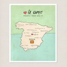 Spanish Country Map Children Room Decor Wall Art by LisaBarbero, $20.00  Love this for a baby room