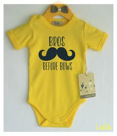 Funny baby boy clothes. Bros before bows baby by HandmadeByLula