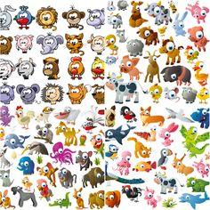 vector | Funny cartoon animals vector | Vector Graphics & Vector Illustrations