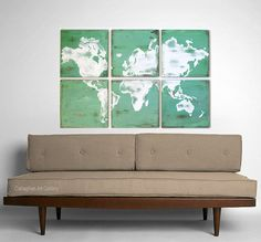 Living Room: Decor -- Vintage World Map.  Large scale vintage map in color so I don't have to paint rented walls.