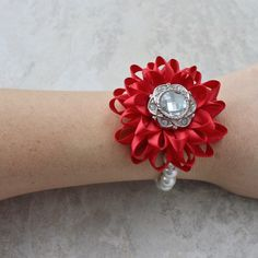 Red Bracelet Red Corsage Red Flower Corsage Red Flower Bracelet Red Wrist Flower Red Bridesmaid Flowers Silver and Red Wedding Crosage